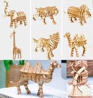 Robotime houten 3D gebouw model speelgoed monteren puzzel woondecoratie dier leeuw panda aap uil wolf paard verjaardagscadeau 1 st