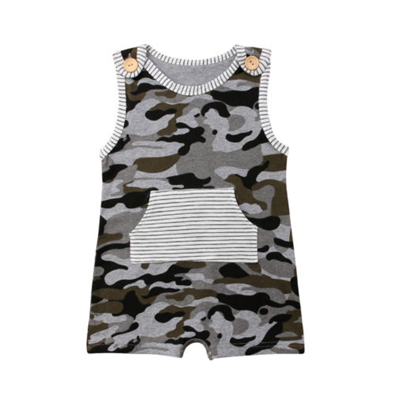 Pudcoco Newborn Toddler Baby Boy   Romper   camouflage Sleeveless Print Jumpsuit Cotton Summer Clothes Outfits Set