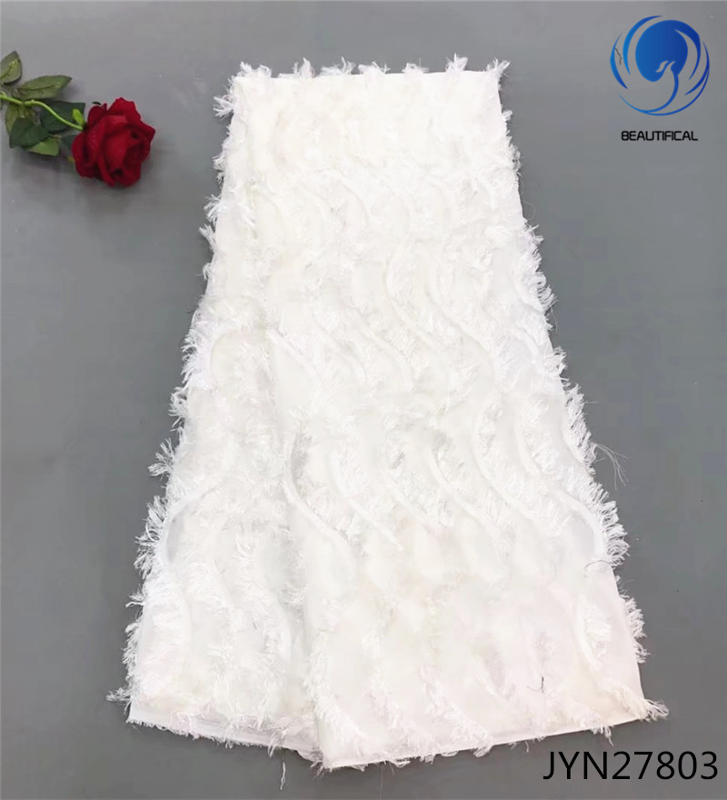 Beautifical White African Lace Fabrics Latest Bridal Chiffon Net Lace Fabric For Wedding 3d Long Wool French Lace Fabric JYN278
