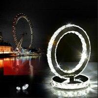Yüzükler Led Masa lambası Luster kristal Luminarias Için Yatak Odası Masa Lambası paslanmaz çelik lazer Ev Aydınlatma lustre cristal abajour
