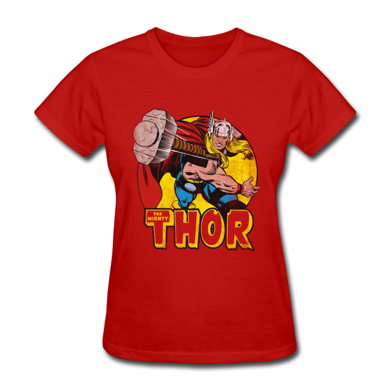 Thor Springs Into Action 100% Cotton Tops Shirts for Women Simple Style T-Shirt Design Slim Fit O Neck Tshirts Short Sleeve Thor Springs Into Action red