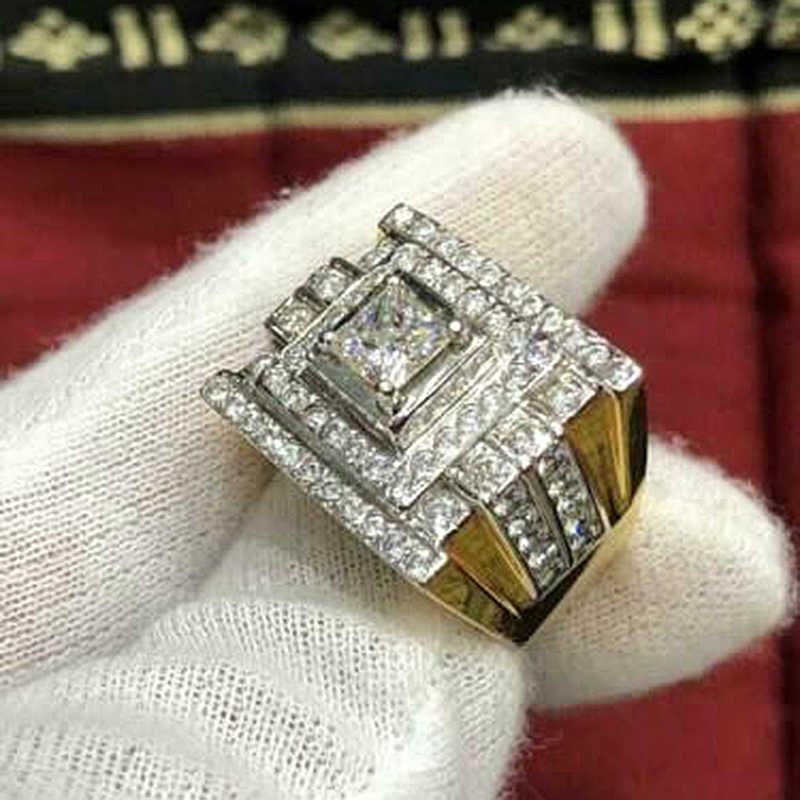 Aliança de Casamento De luxo De Ouro Grande de Largura Anéis de Dedo dos homens Micro Pave CZ Anéis de Noivado Para As Mulheres Presentes da Jóia Fina z5M266