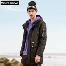 METERSBONWE Hooded Thick Winter Men Parka Medium-Long Cotton
