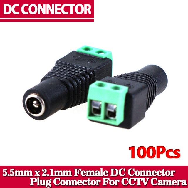 100 قطعة/الوحدة أنثى dc موصل 5.5/2.1 ملليمتر cctv utp dc قوة التوصيل محول كابل dc/ac 2/كاميرا فيديو balun