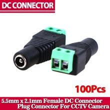 100 개/몫 여성 dc 커넥터 5.5/2.1mm cctv utp dc 전원 플러그 어댑터 케이블 dc/ac 2/카메라 비디오 balun
