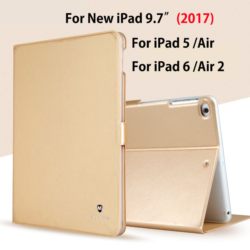 Luxury Silicon PU Leather For New iPad 9.7 2017 A1822 Case For Apple iPad Air Air2 iPad 5 6 Smart Cover Funda Tablet Stand Case flip left and right stand pu leather case cover for blu vivo air