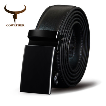 COWATHER Men Belt Cow Genuine Leather Male Strap Cowskin Automatic Buckle Belts Cowhide Alloy Buckle Men Straps Newest Waistband diy belt genuine leather without buckle replace belt cowskin leather belt body pure color smooth buckle cowhide waistband