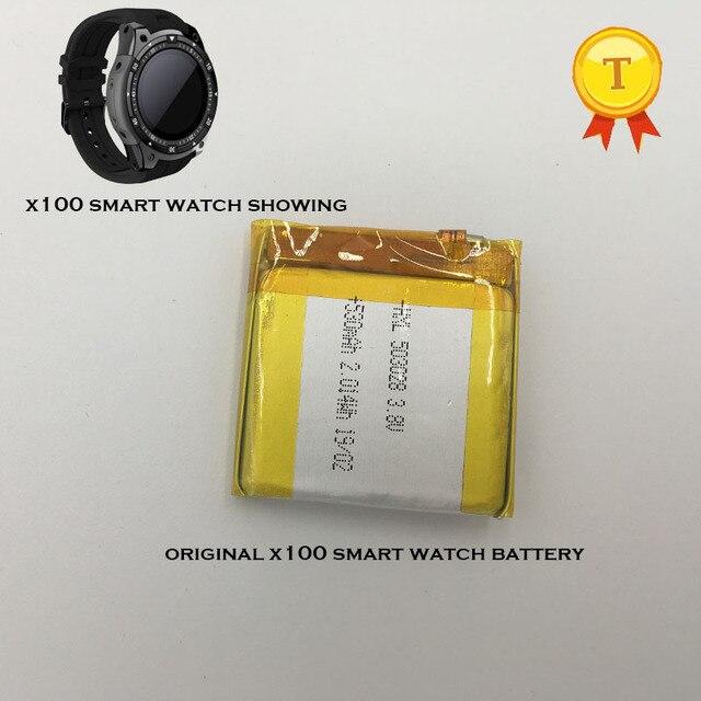 新しい充電式時計電池のためのスマートウォッチ電話腕時計 x100 smart watch phonewatch saat 時計時間 530 mah 容量バッテリー