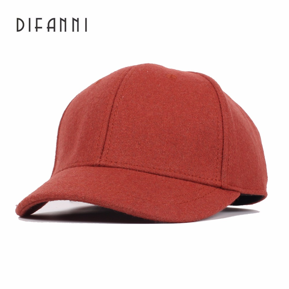 Image Difanni Autumn And Winter Men Good Quality Wool Baseball Caps Casua Short Peaked Cap Unisex Solid Color Felt Hat gorras fitted