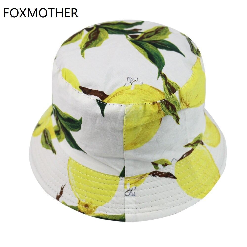 FOXMOTHER New Summer White Black Fruit Lemon Fisherman Hat Women Caps Bucket 2019
