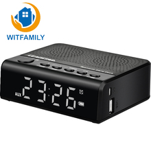 Portable Wireless Bluetooth Speakers LED Subwoofer Alarm Clock Audio FM Radio TF MP3 WMA APE USB Port Phone Hands-free Calls