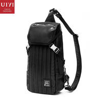 UIYI Brand Handbag Men Casual Cross Body Messenger Bag Male Sling Bags Leather Optical Cement Patchwork Chest Pack 160120