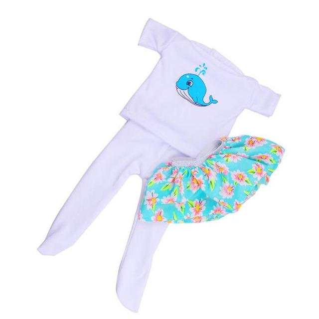Cute Shirt + Skirt + Pants For 43 cm Baby Doll 3 pcs Set
