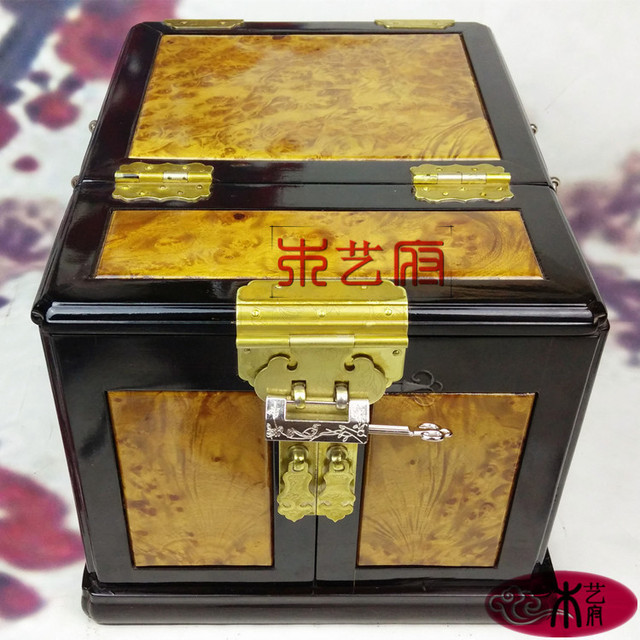 Wooden Government Gold Camphor Wood Inlay Ebony Mirror Box Jewelry