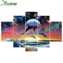 YOGOTOP DIY Diamond Painting Cross Stitch Kits Full Diamond Embroidery dolphins 5D Diamond Mosaic Needlework 5pcs ML104 yogotop diy diamond painting cross stitch kits full diamond embroidery 5d diamond mosaic needlework muslim 5pcs ml167