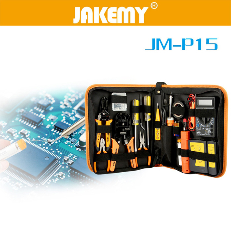 JAKEMY JM - P15 17 In 1 Professional Soldering Iron Suit For Networking Issue Portable Hand Tool Sets for Electronics Repair jakemy jm p03 16 in 1 primary diy welding soldering tool set for pcb board