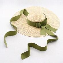 Sıcak disket buğday hasır şapka kadınlar büyük ağız güneş şapkaları kurdele yay zarif bayan yaz plaj güneş şapkası Chapeau Sombreros