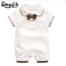 Купить с кэшбэком Baby boy summer clothes Short sleeve one-pieces jumpsuit bow onesie baby gentleman clothes Cotton newborn unisex knitted romper