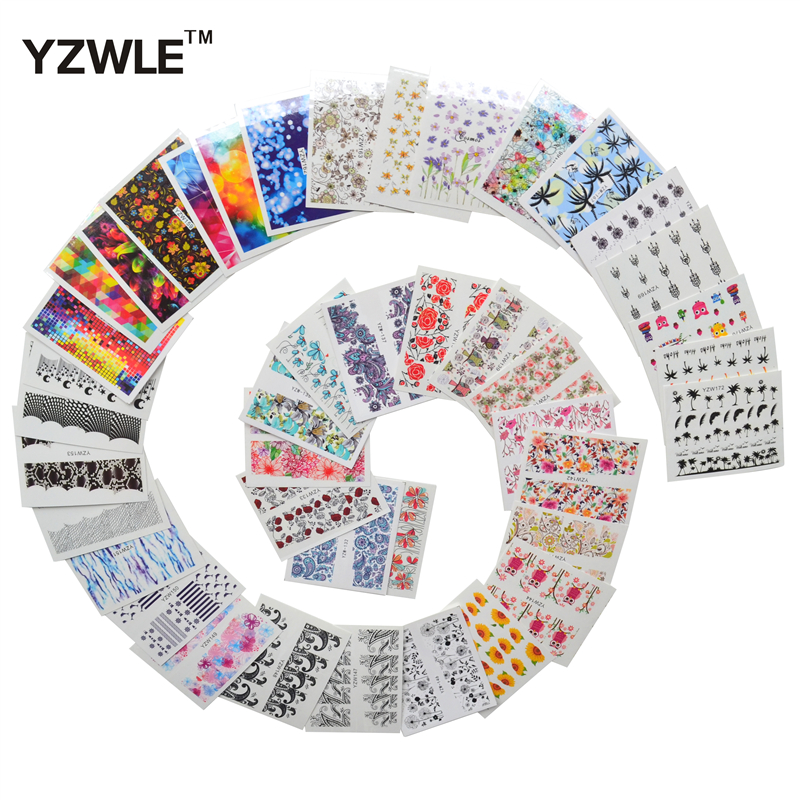 YZWLE 42 Sheets DIY Decals Nails Art Water Transfer Printing Stickers Accessories For Manicure Salon yzwle 30 sheets diy decals nails art water transfer printing stickers accessories for nails