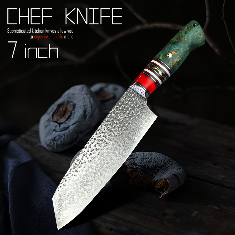 PEDWIFE 7 Damascus VG10 Santoku Knives Japanese Style Stable Wood Tanto Point Kitchen Cooking Chef Knife