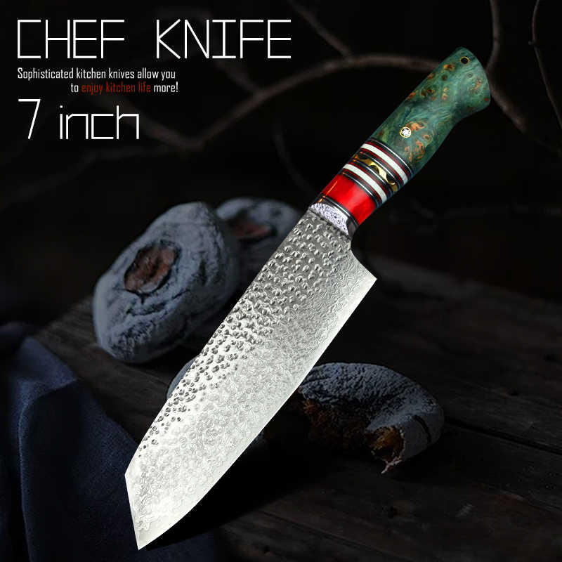 "PEDWIFE 7"" Damascus VG10 Santoku Knives Japanese Style Stable Wood Tanto Point Kitchen Cooking Chef Knife Carved Leather Sheath"