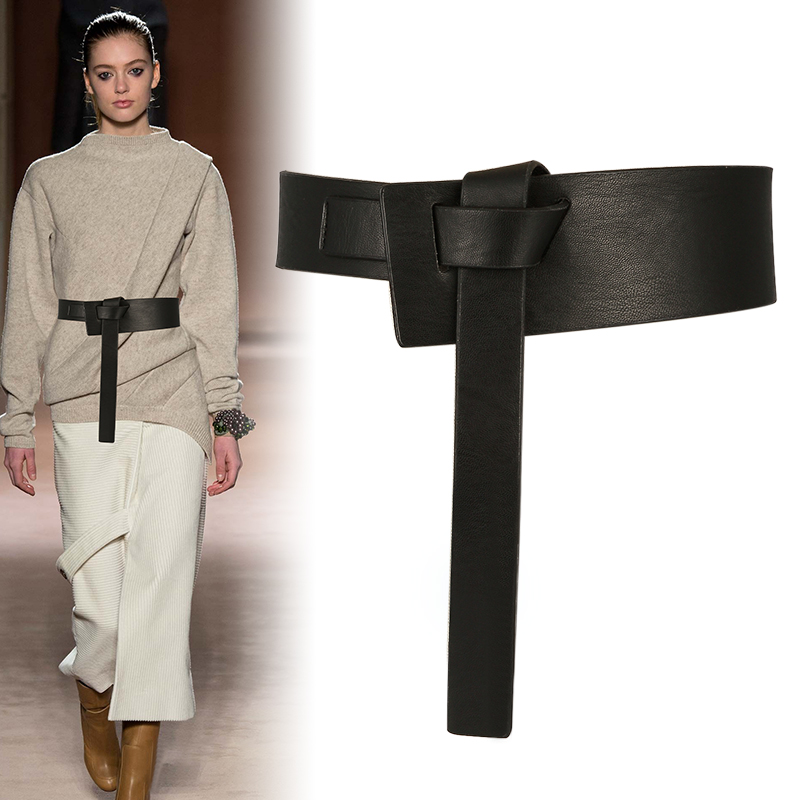 New Women Wide Belt Long Section Soft Leather Waistbands Black Bow Knot Body Shaping Bands Wide Belts Dress High Quality Strap