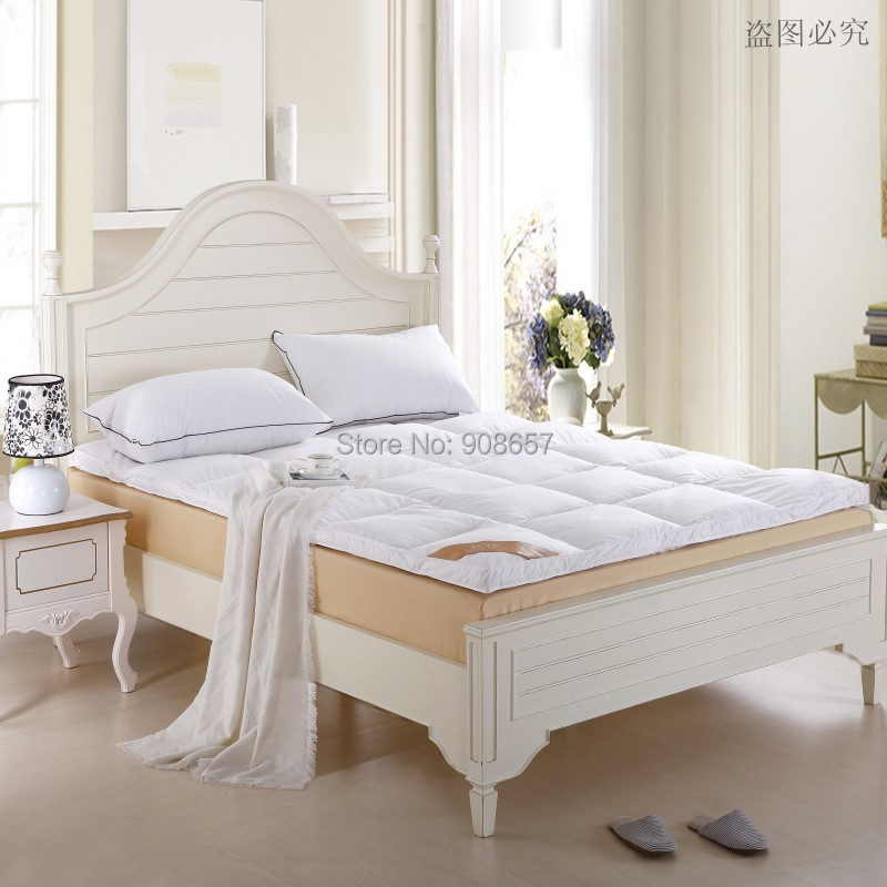 new queen size bed white thickening folding luxury duck down mattress topper 100 cotton shell