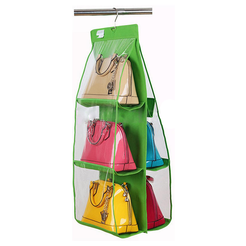 6 отсеков для хранения висячего висит органайзер для обуви, сумок мешок зеленый
