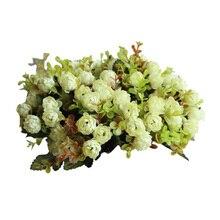 1 ramo/15 cabezas Vintage Mini ramo de flores de seda Artificial ramo de flores para decorar el hogar Flor de Scrapbooking barata (verde)