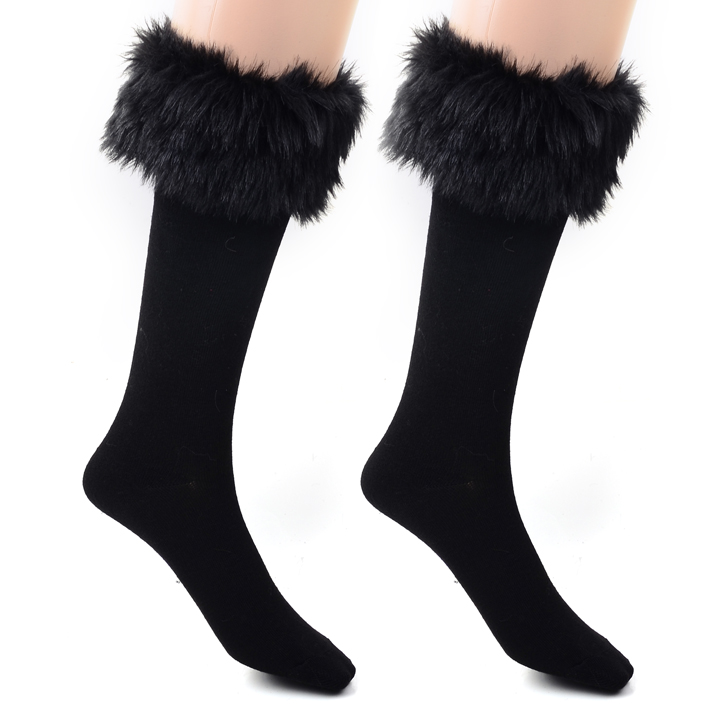 Winter Women Fur Boots Stockings Knee Length Socks Sexy Warm High Long Knit Cotton Cute Christmas Stockings For Girls Ladies