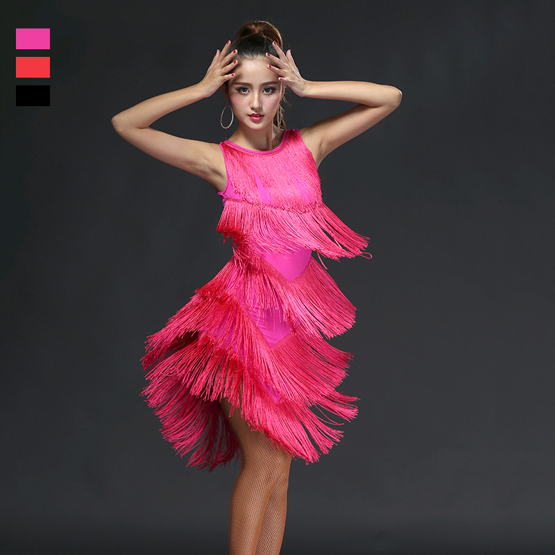 Latin Dance Dress Sexy Costumes Clothes For Salsa Wear Women Latin Dance Competition Latin Dresses Fringe Tassel Skirt DN1453