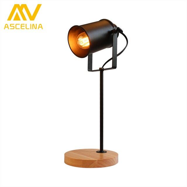 American Table Lamp ASCELINA Vintage Loft Wooden Led Desk Lamp Adjustable  Reading Light Office Lamp Home