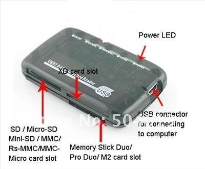 Dropship New USB 2.0 ALL IN ONE MEMORY CARD READER FOR SD CF MMC MS