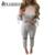 2017 Sexy Estilo 2 Unidades Set Mujeres Agujero Pantalones Largos y Crop Top Traje de Otoño Moda Lace Up Manga Ahueca Hacia Fuera la Ropa Deportiva chándal