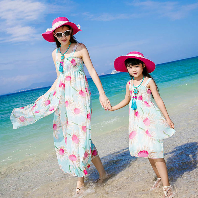6901fe3c57a Authentic 2019 Mom and Daughter Dress Long Maxi Summer Vacation Dresses  Family Matching Beach Dress Chiffon Girls   Women Dress