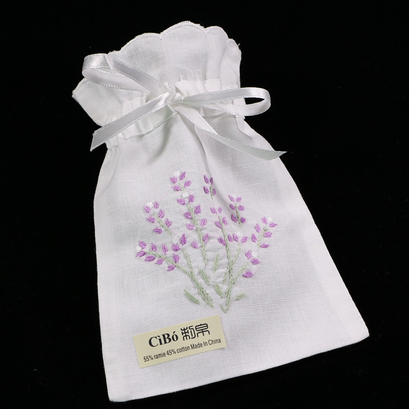 B010 : 12 Pieces White Ramie/cotton Hand Embroidery Lavender Gift Bags Storage Bags  5x7 Inches Sachet Bags, Travel Pouch
