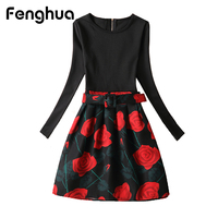 Fenghua Brand Winter Dress 2017 Autumn Casual Sexy Vintage Dress Long Sleeve A Line Short Floral
