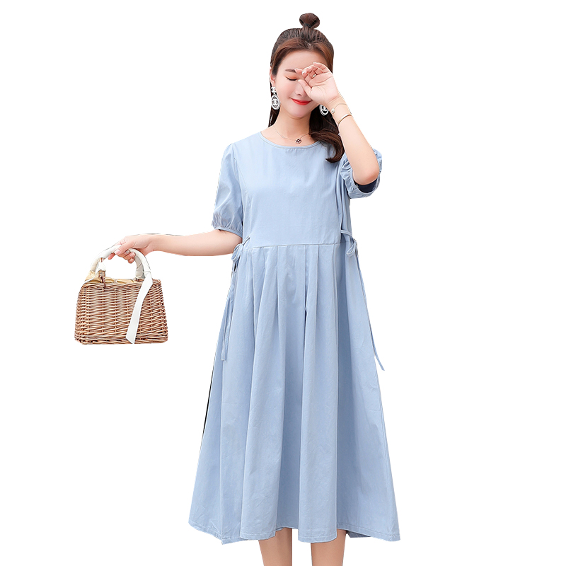 2018 Maternity Dresses Summer Wear Loose Type Plus Size New Mother Pregnancy Clothes Cotton Sky Blue Pleated Women Dress M-XXL
