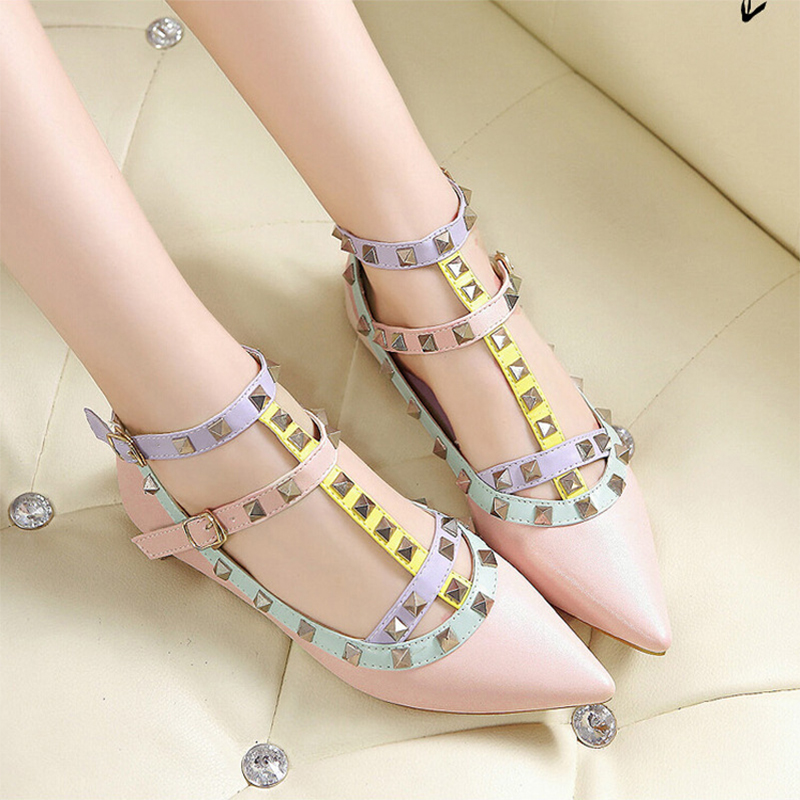 TINGHON US4-12 New Fashion Casual Women Pointed Toe Rivet Flat Bottom Shoes Women Slip On Flats Candy Color Zapatos Mujer 2017 new fashion spring summer boat shoes women candy color flats pointed toe slip on flat fashion casual plus size pu shoes
