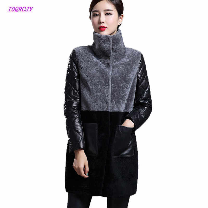 4c7a136adc2 Women Sheep Shearing Fur Coat Women Winter Lamb Splicing PU Leather Jacket  Parka Jackets 2018 Long