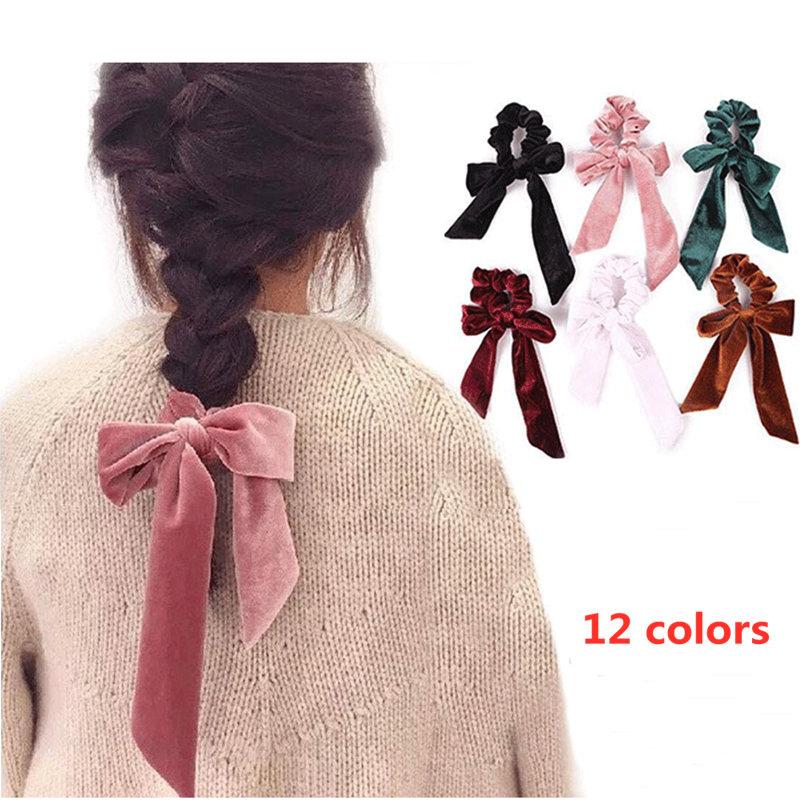 Fashion Velvet Scrunchie For Women Elastic Hair Band Bow Girls Sweet Headband Gum Hair Tie Rope Ponytail Holder Hair Accessories