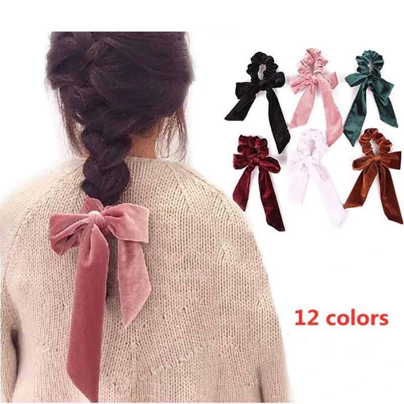 2PCS Womens Girls Polka Dot Print Velvet Hair Bands Scrunchies Ponytail Holders