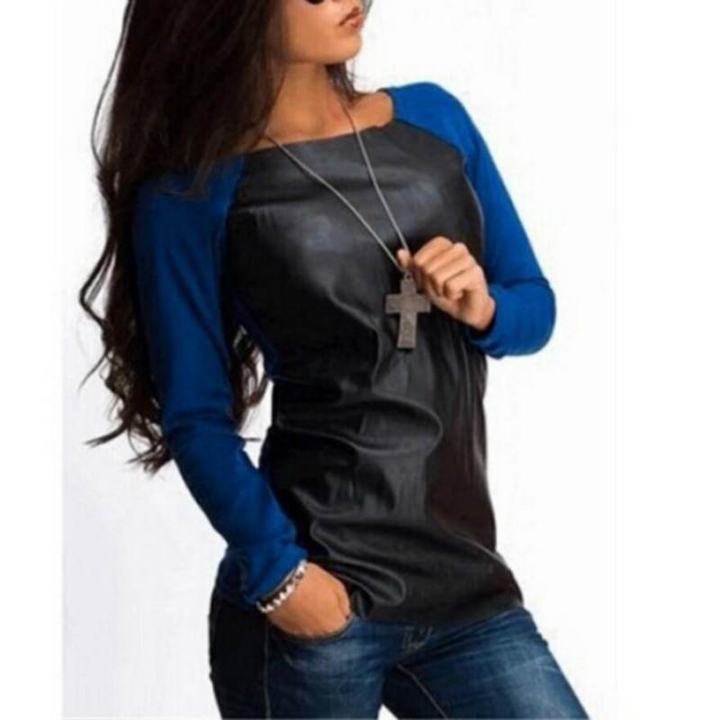 Women Shirts Long Sleeve PU Leather Patchwork Blouses Fashion Autumn Winter Casual Loose Tops Blusas Plus Size