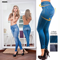 Frete grátis azul bolso da calça leggings polainas Leggings com lã tecido preto magro jeggings calça jeans leggings para as mulheres
