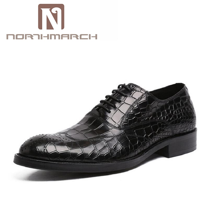 NORTHMARCH Genuine Leather Lace-upDress Shoes Men Brand Luxury Business Casual Classic Gentleman Men Shoes Sapato Masculino fashion men shoes genuine leather men casual shoes brand luxury men s business classic gentleman shoes handmade high quality