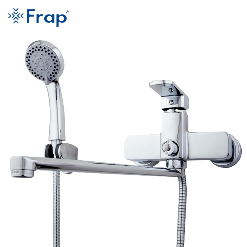 Frap High-quality Brass body 35cm length outlet rotated Bath room shower faucet With ABS shower head torneiras monocom F2273 цена