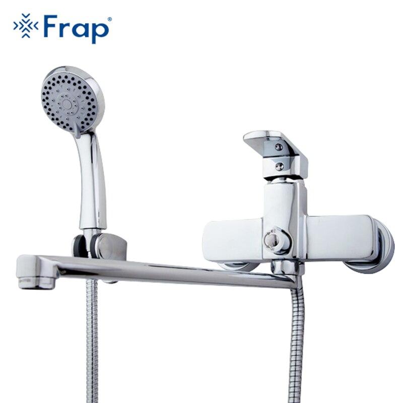 Frap corps En Laiton de Haute Qualité 35 cm longueur sortie tourné salle De Bain robinet de douche Avec ABS tête de douche torneiras monocom F2273