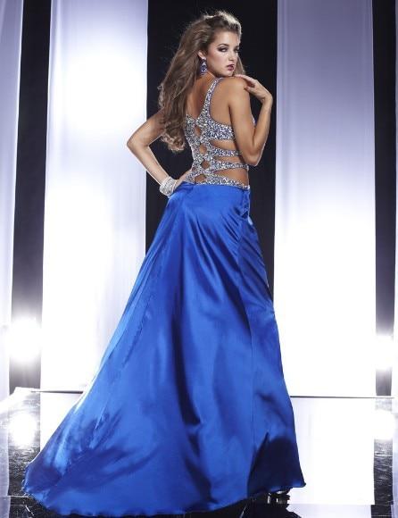 Livraison gratuite 2013 nouveaux vestidos de festa formelle cristal élégante robe sexy dos nu bleu royal longue soirée fête robes de bal