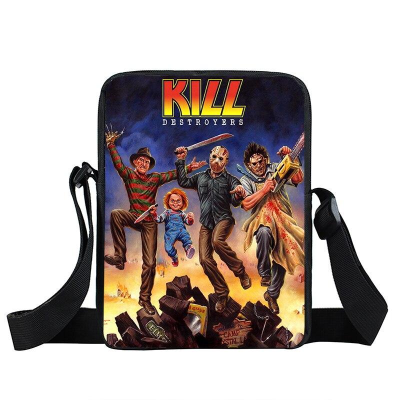 Horrible Nightmare Mini Messenger Bag Chucky Jason Freddy School Bag For Children Freedy VS Jason Shoulder Bags Teenage Handbag horrible bear
