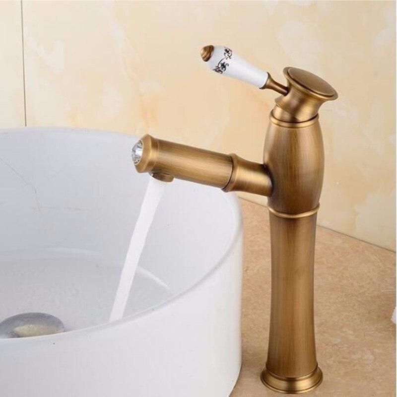 新真鍮の浴室の蛇口アンティーク真鍮浴室の洗面台の蛇口、高級シンクタップ流域ミキサー高品質の蛇口  グループ上の 家のリフォーム からの 流域水栓 の中 3